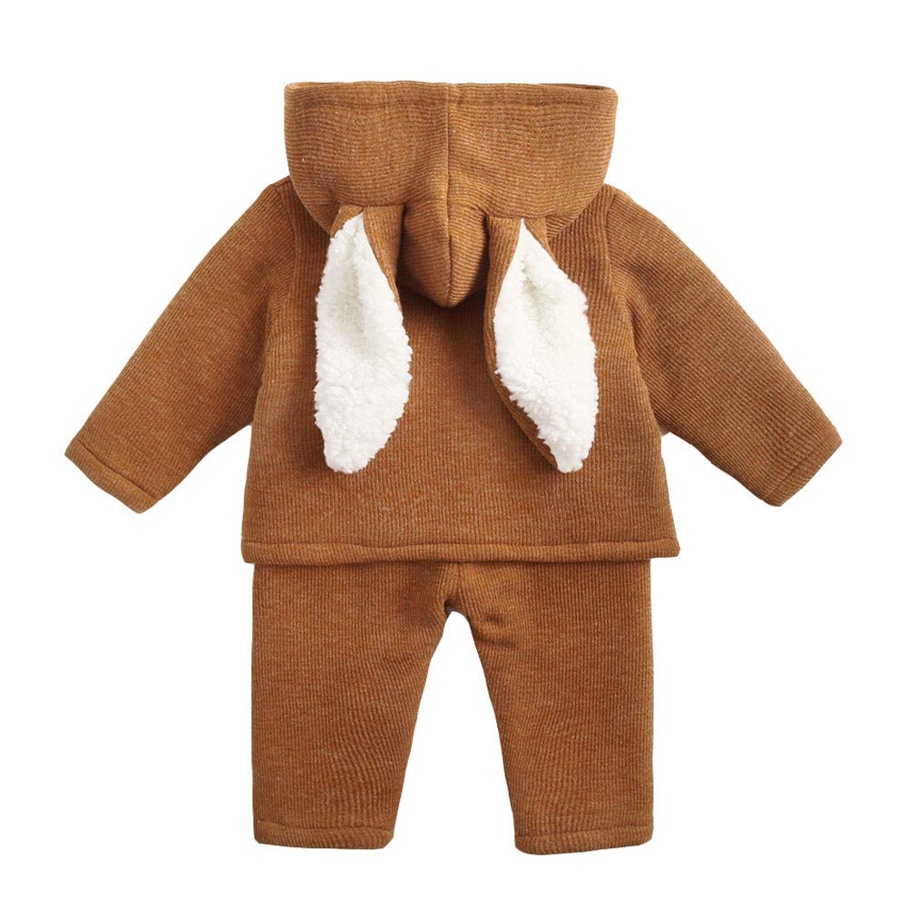 KONFA Toddler Baby Girls Boys Autumn Winter Clothes,Cartoon Rabbit Ears Hoodie+Pants 2Pcs Outfits,for 0-6 Years Kids