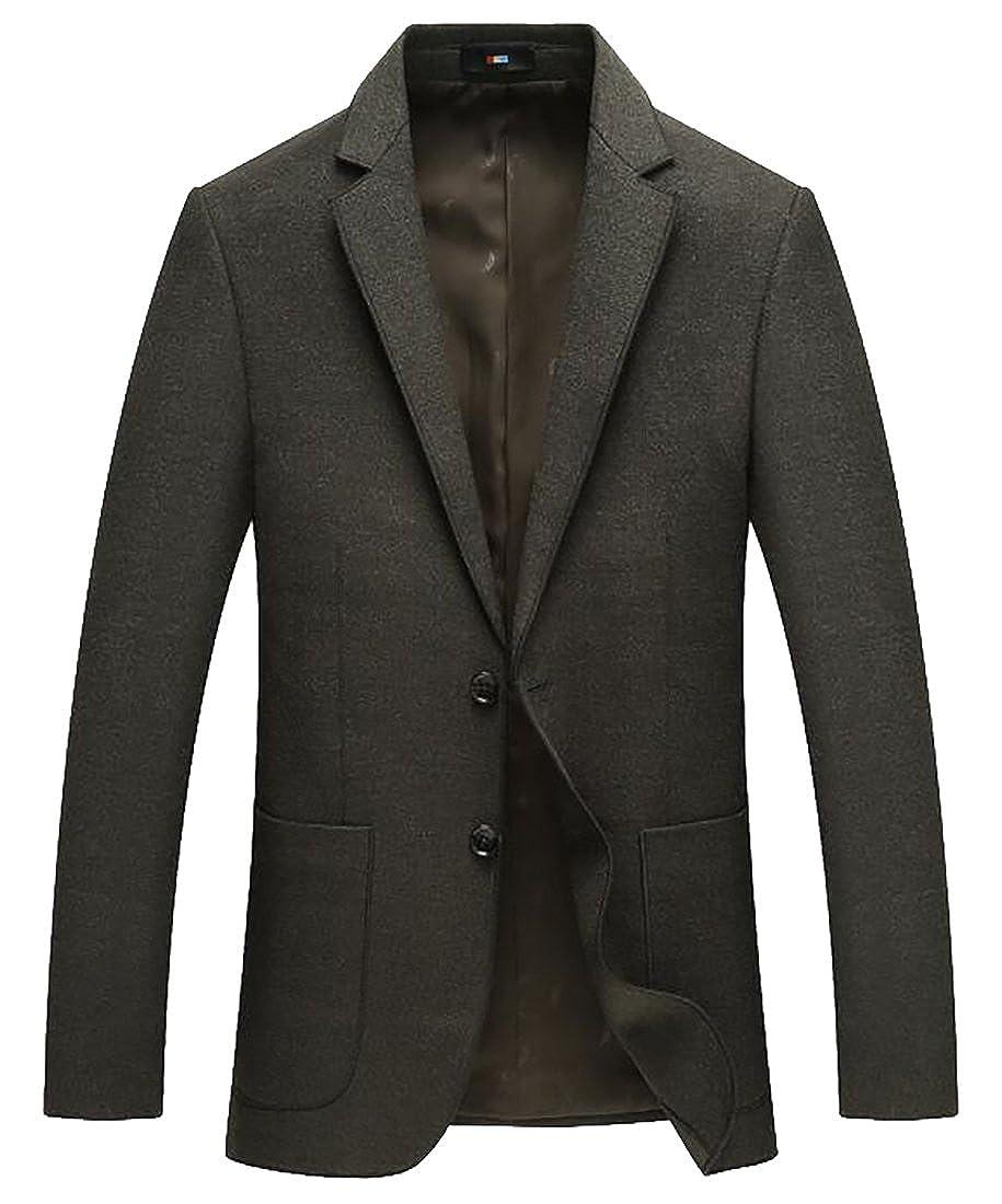 ZXFHZS Mens Slim Fit Suits Casual Two Button Solid Linen Blazer Jacket