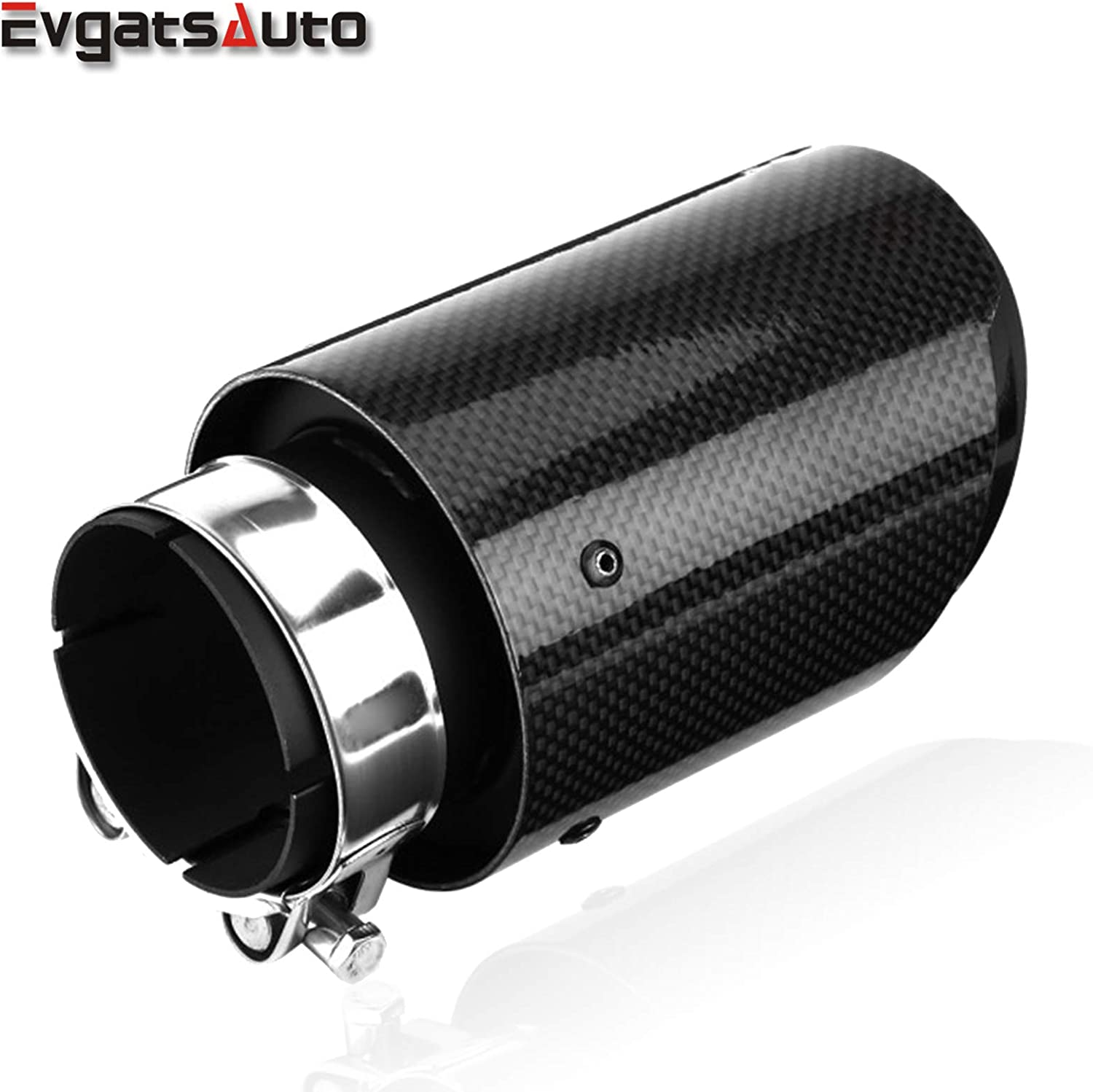 """Blue Car SUV Real Carbon Fiber ID:2.5/""""//60mm Glossy Exhaust Pipe Tip OD:3.5/""""//89mm"""