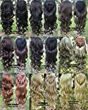 Simpleyourstyle 9colors 3/4 Half Hair Extensions Body Wave Wigs ,Synthetic Hair Extensions,wig Stand Gift Heat Resistant Brown Blonde Clip in Hair Extensions U Pick 200g (1b Natural Black)