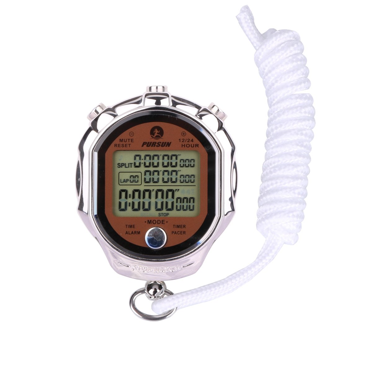 AIMILAR Stainless Steel Digital Sports Stopwatch Timer Alarm Clock Large Display and Button with Lanyard for Men Women Trainers Coaching Training by AIMILAR (Image #1)