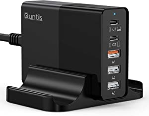 Quntis 65W USB C Charger,5-Port Charging Station with PD 3.0 for MacBook Pro/Air,iPhone 12 Pro/Pro Max,iPad Pro,Think Pad,Switch(Black)