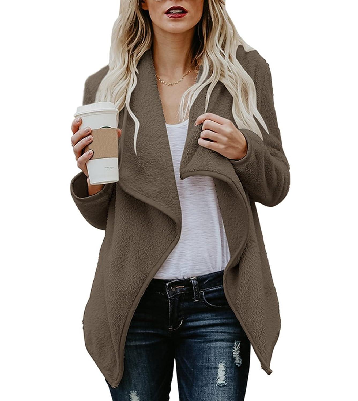 770ce67fffe3 Fashion long sleeve warm outerwear coats in winter. Draped open front