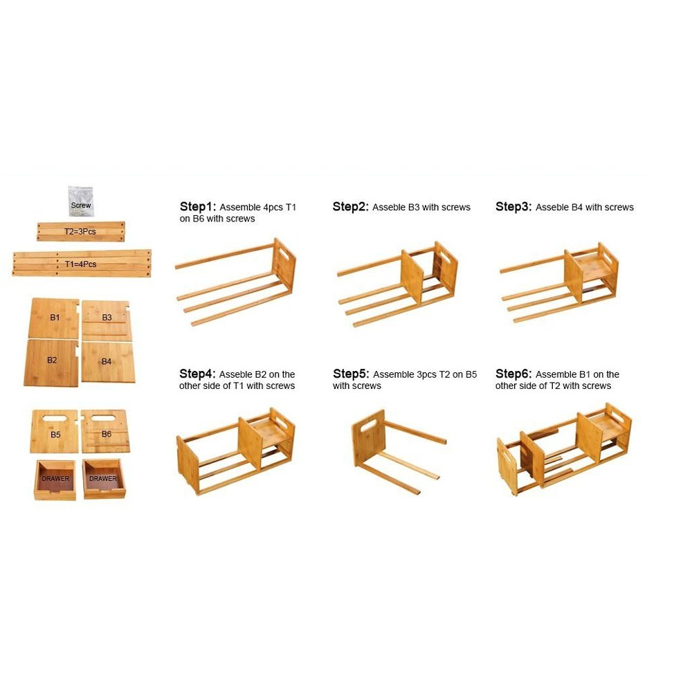DIY Wooden Book shelf Storage Rack Office Desktop Organizer-Bamboo Desk Organiser Bookshelf For Office And Home Natural Bamboo Expandable Adjustable Bookshelf Size : L32-60*18.5*20.5cm