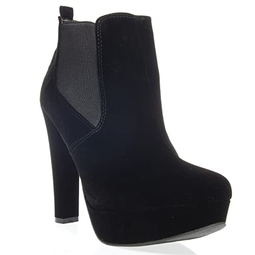 Womens 10-THEATRE02 Closed Toe High Heel Platform Ankle Bootie