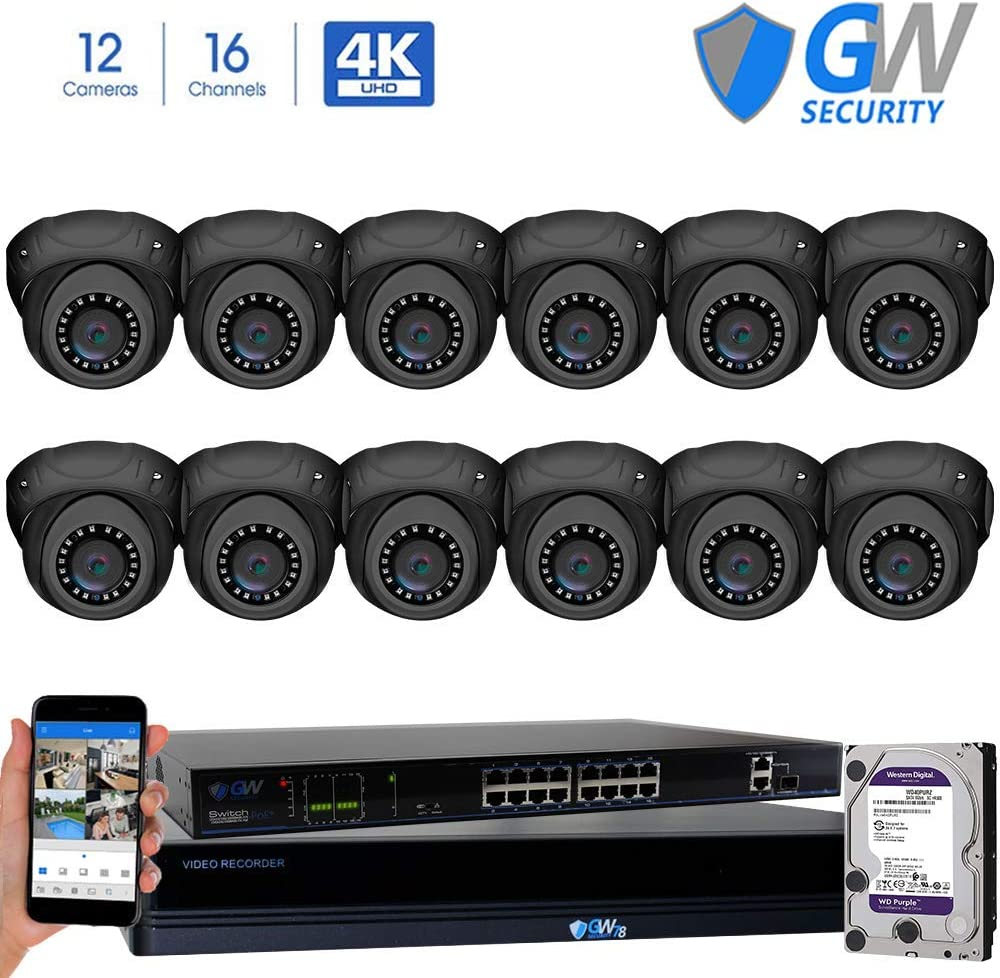 GW Security 16 Channel 4K NVR 8MP IP Camera Network PoE H.265 Surveillance System with 12-Piece Ultra HD 4K 2160P Weatherproof Outdoor Indoor Dome Security Cameras – Grey