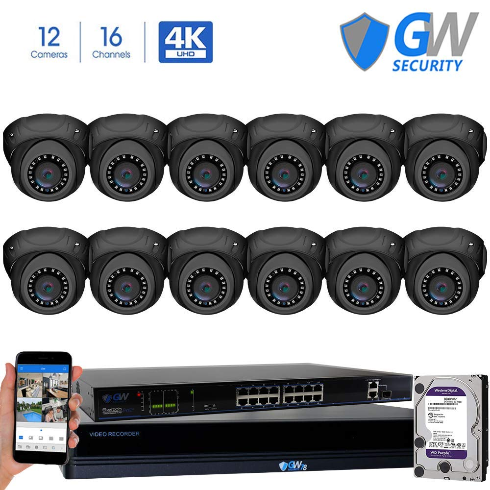GW Security 16 Channel 4K NVR 8MP IP Camera Network PoE H.265 Surveillance System with 12-Piece Ultra HD 4K 2160P Weatherproof Outdoor/Indoor Dome Security Cameras - Grey by GW