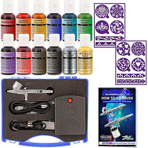 Master Airbrush Cake Decorating System, Precision Dual-action Gravity Feed Airbrush Set with Mini Air Compressor Plus 12 Chefmaster Airbrush Food Colors & 2 Sets of Airbrush Stencils with Case (Airbrush Paint Stencil)