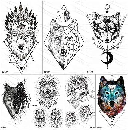 ruofengpuzi Adesivo tatuaggioIndian Wolf Totem Geométrico Tribal ...