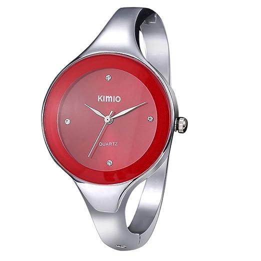 Kinlene Reloj deporti vo de pulsera, de cuarzo, diseño de 2018 de lujo clásico, simple e informal, relojes cómodos, de acero inoxidable, rojo (Rojo): ...