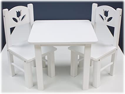 18 Inch Doll Furniture Wooden Table And Chairs Set   (18u0026quot; White Floral)
