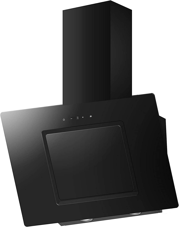 PKM S26-60BBTY Wandhaube//Glas//Schwarz 60 cm//LED-Beleuchtung//Kopffrei Randabsaugung
