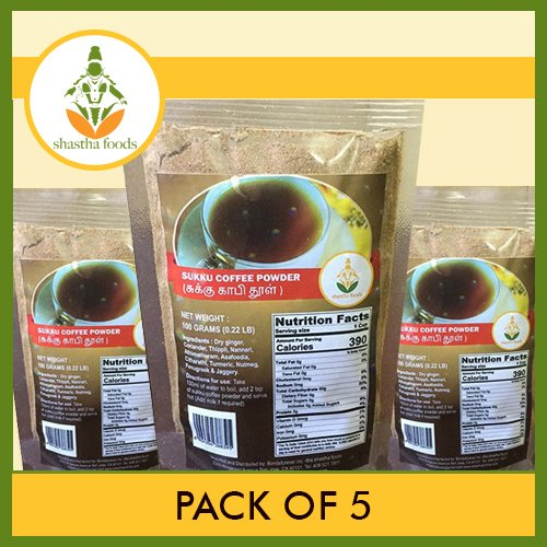 SHASTHA DRY-GINGER (SUKKU) COFFEE POWDER - PACK OF 5 (EACH PKT 100G)(T-S)