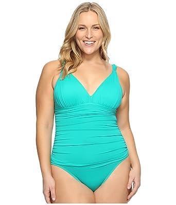 0285ba51bc Lauren Ralph Lauren Women s Plus Size Beach Club Over The Shoulder Mio  One-Piece Emerald
