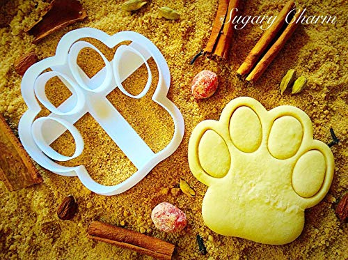(Dog Paw Cookie Cutter - Small Puppy Treat by Sugary Charm - Mini 3d Shaped Pawprint Cutters for Biscuits - Kitchen Shapes for Bulldog Lovers - Doggie Cookies Print Gift)