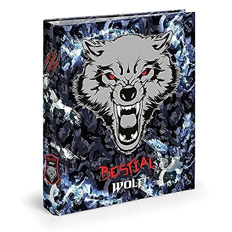 Dis2 - Archivador 4 anillas 3,5 bestial wolf negro: Amazon.es: Oficina y papelería