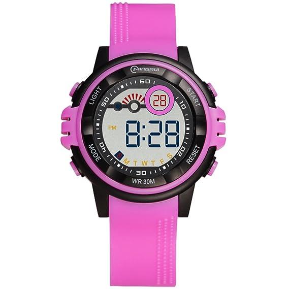 Relojes Digitales, Reloj Digital para Estudiantes, Resistente al Agua [Encantador] con Hebilla y Correa de Relojes Digitales B: Amazon.es: Relojes