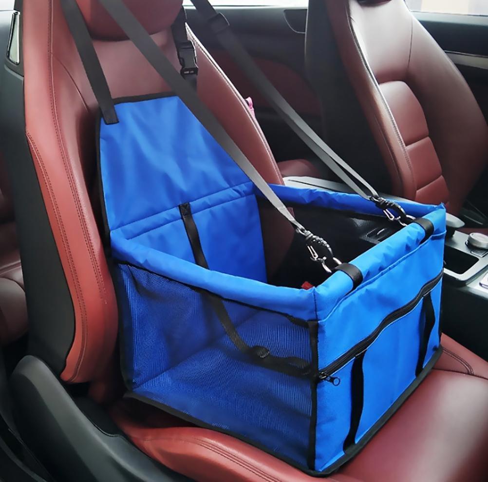 bluee LAMEI Pet Seat Net Yarn Bag Waterproof Mat Travel Car and Zipper Storage Pocket
