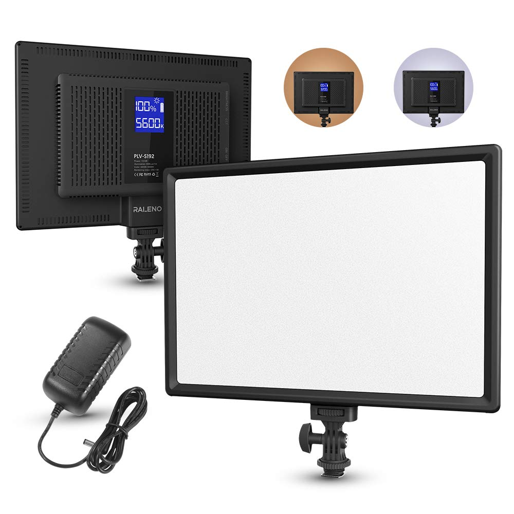 RALENO Led Video Light, Camera Camcorder Photo Light Panel with LCD Display Built-in Lithium Battery Dimmable 3300K-5600K Bi-Color CRI 95+ Ultra-Thin Lighting for YouTube Video Portraits Shooting