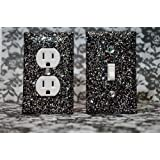 SET OF STARRY NIGHT BLACK AND SILVER Glitter Switch Plate Outlet Covers ALL Styles Available!
