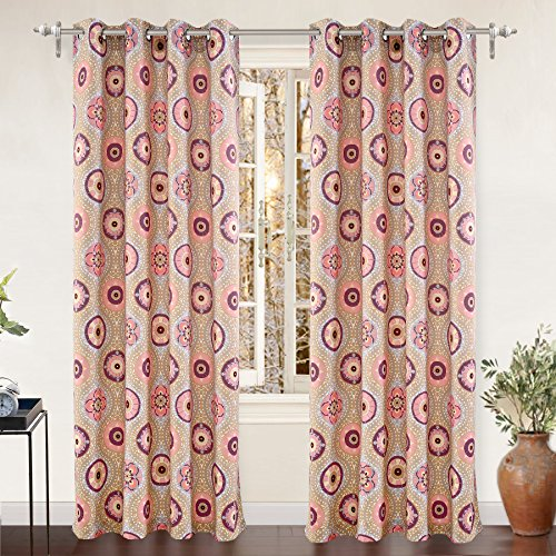 "DriftAway Avery Room Darkening/Thermal Insulated Grommet Window Curtains, Moroccan Floral/Bohemian Suzani pattern, Set of Two Panels, each 52""x84"" 614SKeO9GZL"
