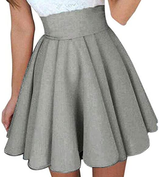 Heeecgoods Falda Acampanada A Pliegues de Mujer con Mini Falda con ...