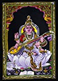 Krishna Mart India Cotton Canvas Sequin Batik Goddess Saraswati 22'' X 16'' Tapestry (Small)