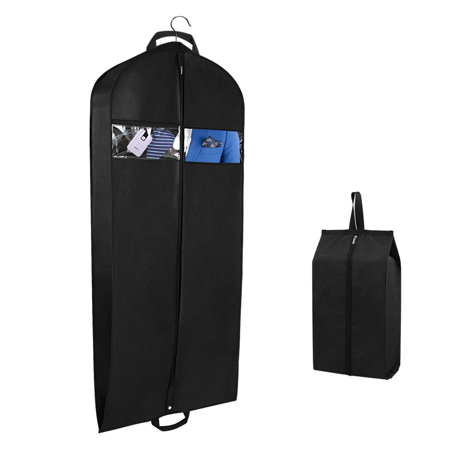 Univivi Garment Bag for Travel and Storage 43'' Breathable Suit Bags with Two Zipped Pockets and One Zipped Shoe Bag by Univivi