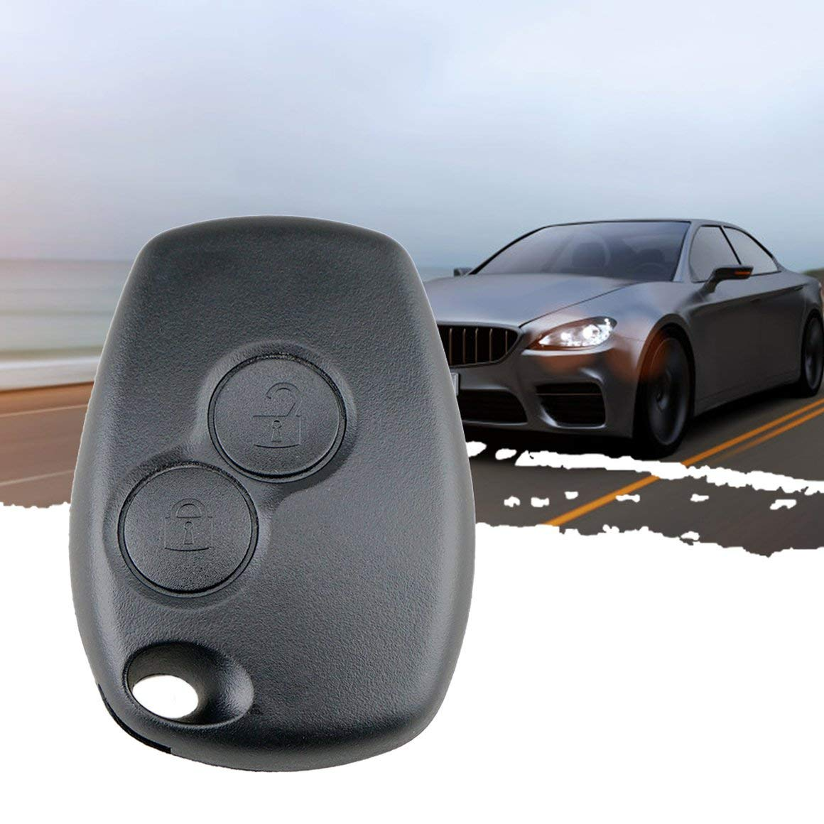 Funnyrunstore 2 Botones Car Key Shell Remote Fob Funda Fob en Blanco para Renault Dacia Modus Clio 3 Twingo Kangoo 2 Sin Logotipo