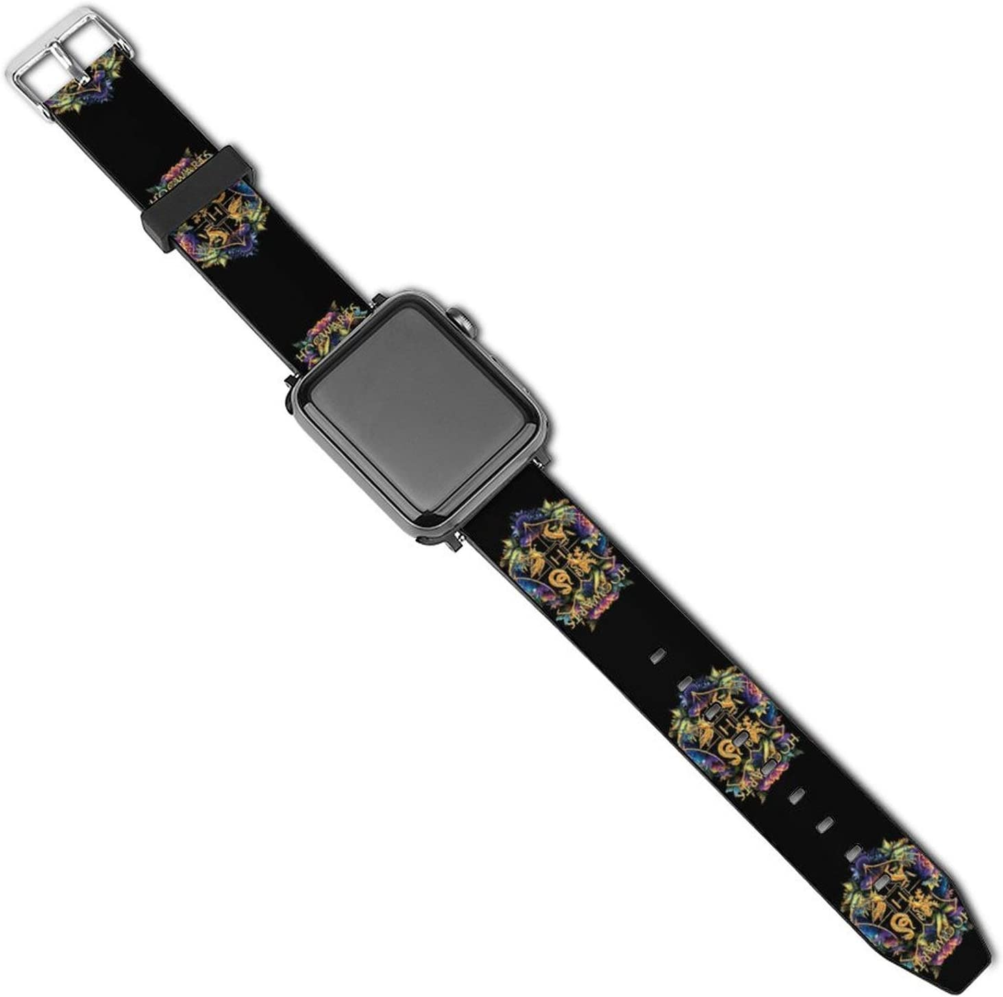 Ha-rry Pot-TER Compatible for Apple Watch Series SE 6 5 4 3 2 1 & 44mm 40mm 42mm 38mm iWatch Replacement Strap Leather Bands Series (Black, 44/42 mm)