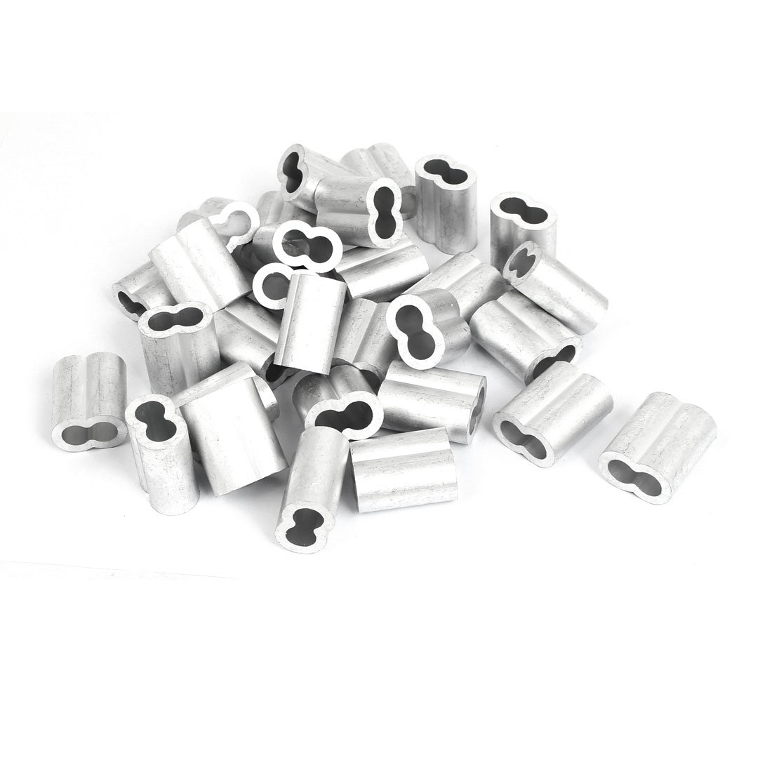 uxcell 10mm 3/8'' Double Hole Aluminum Swage Sleeve Wire Rope Clamp Clip 30pcs