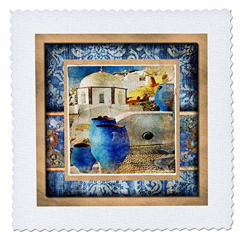 (3dRose qs_34109_1 Santorini in Denim-Quilt Square, 10 by 10-Inch )