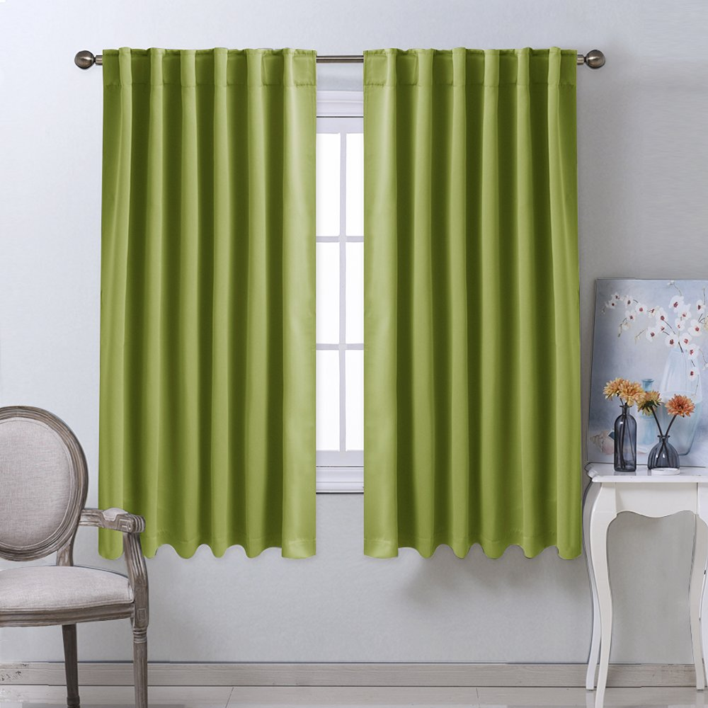NICETOWN Bedroom Curtains Blackout Drapery Panels - (Grass Green Color) W52 x L63, Double Panels, Window Treatment Blackout Drapery for Windows
