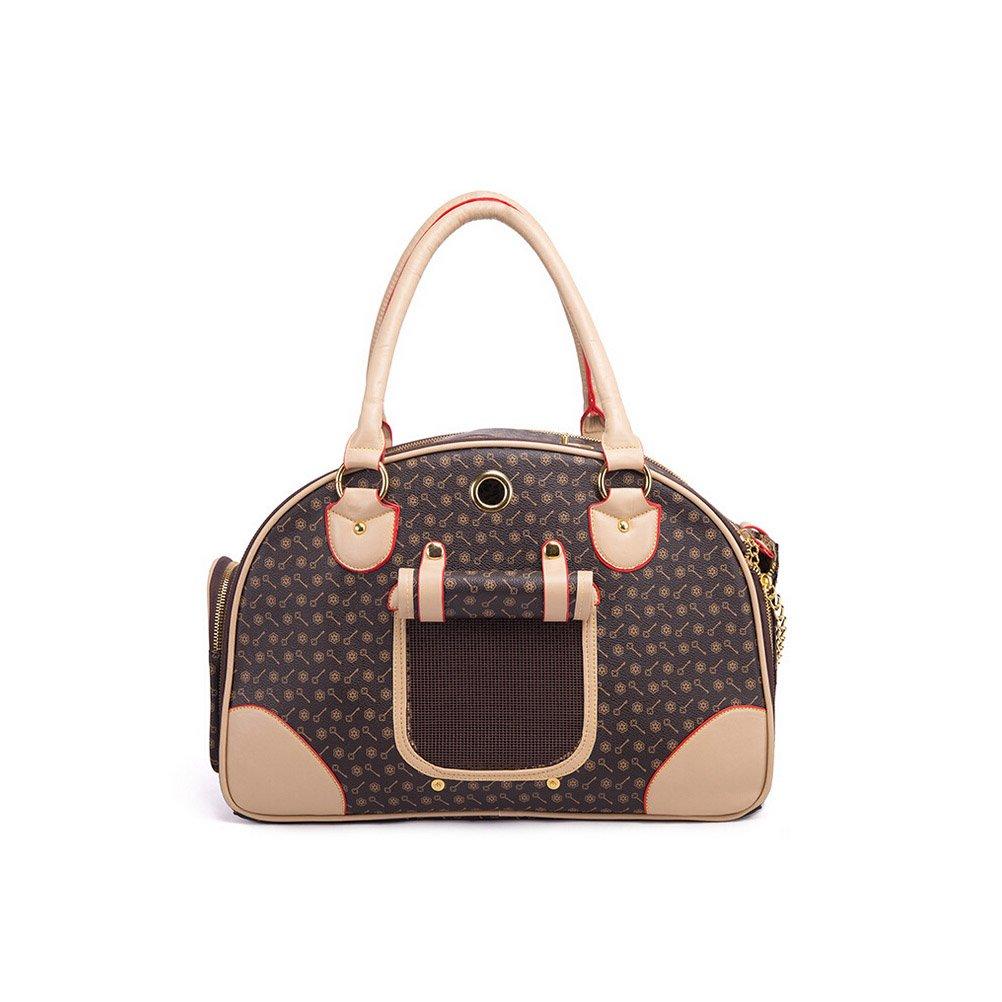 SUNLIGHTAM Luxurt PU Leather Dog Cat Bag Pet Carrier Tote Travel Bag Handbag Purse Mesh (Brown, L)