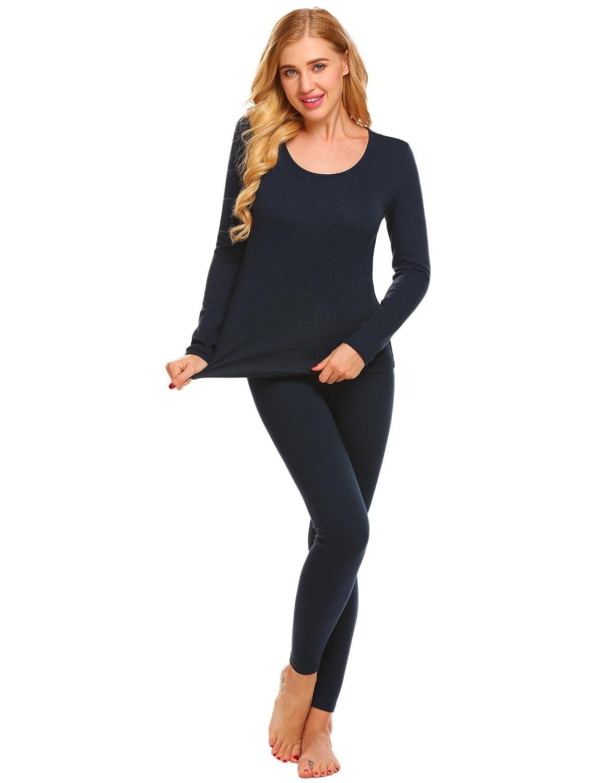 Goldenfox Women Thermal Underwear Set O-Neck Long Sleeve Top and Bottom Pajama Set S-XXL