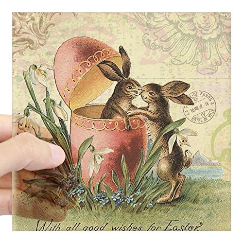 CafePress Vintage French Easter Bunnies in Egg Sticker Square Bumper Sticker Car Decal, 3
