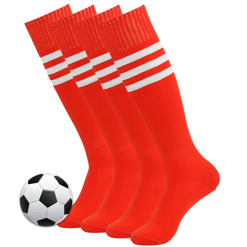 3street Compression Soccer Socks, Unisex Youth Triple Striped Over Knee-High Comfort Breathable Football Baseball Softball Long Tube Socks Red 4 Pairs by Three street
