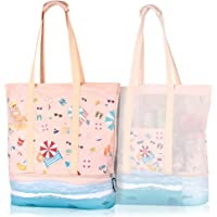 Mesh Beach Bag with Cooler, Large Beach Picnic Shopper Bag Tote Mesh for Woman Girls
