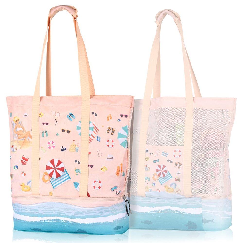 Mesh Beach Bag Cooler, Large Beach Bag Tote Mesh Woman Girls, 2-in-1 Beach Bag Cooler Compartment Insulated Zipper, Cute Well-Designed