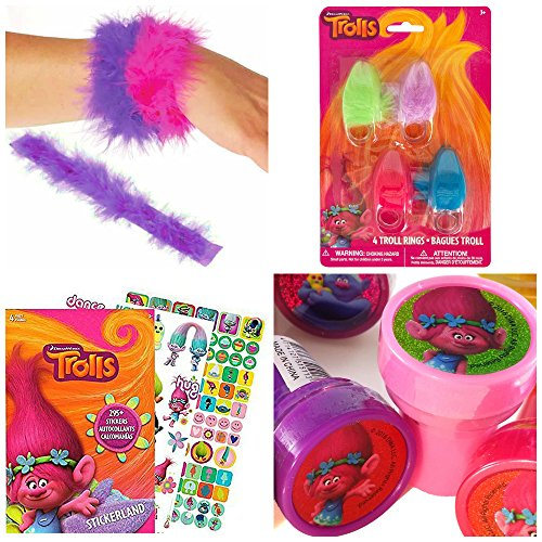 Trolls Fuzzy Rings, Stickers, Fuzzy Slap Bracelets, Stampers, Stocking Stuffer Gift Bundle, 4pc