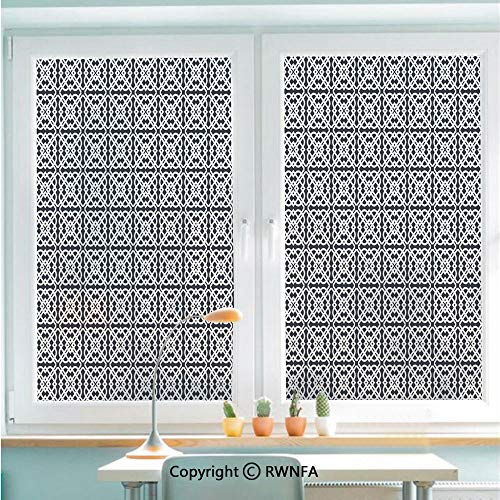 Window Door Sticker Glass Film,Medieval European Culture Influenced Jacquard Pattern Traditional Motifs Decorative Anti UV Heat Control Privacy Kitchen Curtains for Glass,22.8 x 35.4 inch,Charcoal Gr