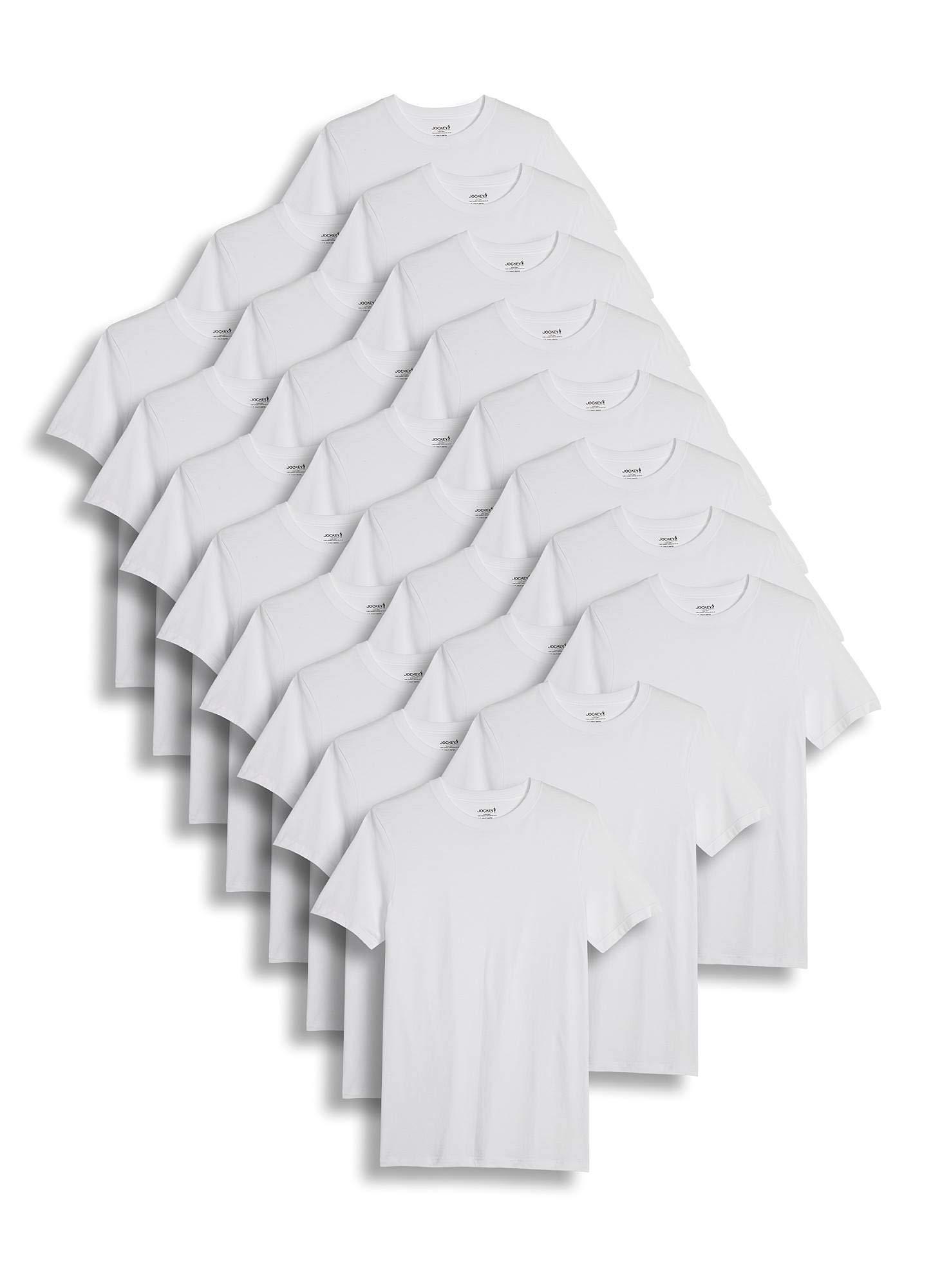 Jockey Men's T-Shirts Big & Tall Classic Crew Neck T-Shirt - 24 Pack, White, 4XL