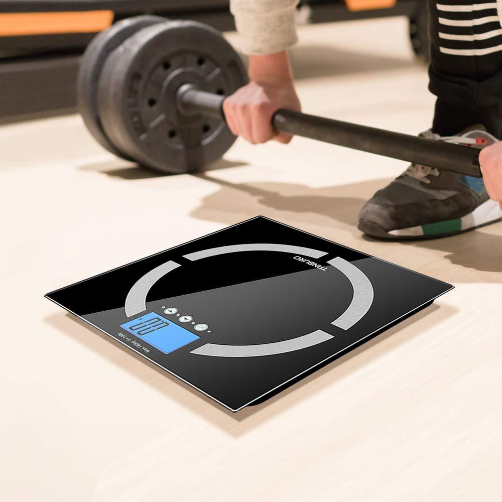 TANBURO Báscula Digital, Báscula de Baño de de Alta Medición Precisa 180KG/400lb, Medido Peso/ grasa/ agua/ músculo/ esqueleto/ calorías/ IMC, Báscula ...