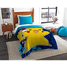 Pokemon Twin Sized 4 Piece Bedding Set - Reversible Comforter & Sheet Set