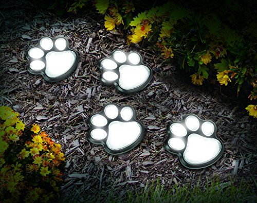 IdeaWorks JB7356 Solar Paw Print Lights (Set of 4), Black