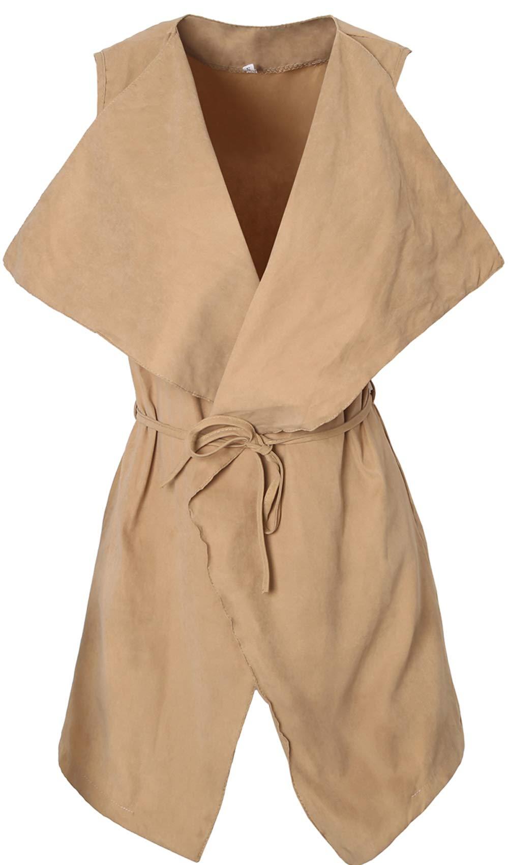 JOKHOO Women's Lapel Sleeveless Long Waistcoat Blazer Vest Cardigan with Belt Khaki