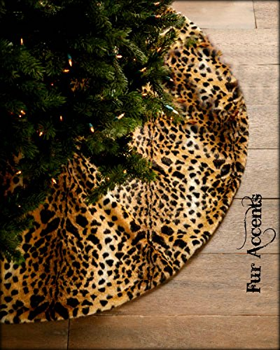 Classic Brown Spotted Leopard Christmas Tree Skirt Premium Quality Faux Fur Round (5' Diameter) by Fur Accents