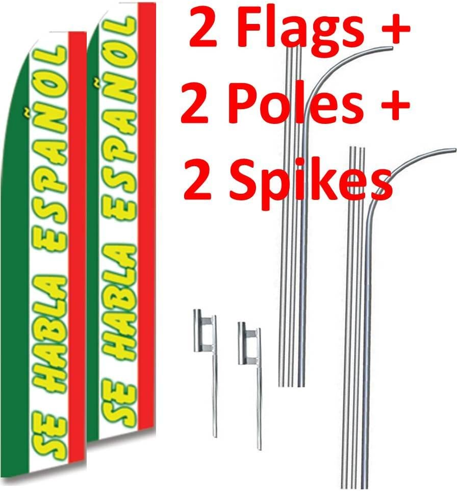 two 2 SE HABLA ESPANOL 15 Swooper #3 Feather Flags KIT