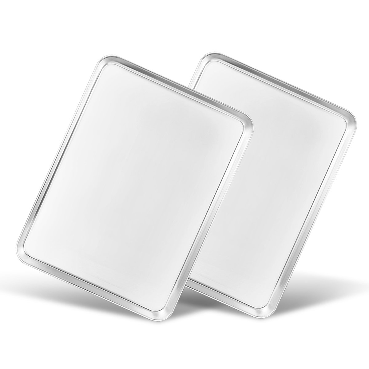 Baking Sheet Set of 2, Bastwe Stainless Steel Cookie Sheet 2 Pieces 16 inch Professional Toaster Oven Bakeware Baking Pan, Healthy & Non Toxic, Mirror Finish & Rust Free, Easy Clean & Dishwasher Safe