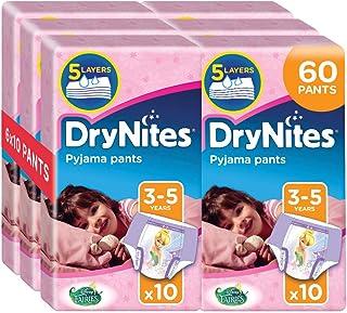 Drynites Mutandine Assorbenti per la Notte da Bambina, 16-23 Kg, 6 Confezioni da 10 Pezzi